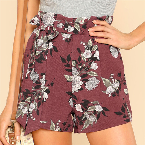 Tie Waist Belt Flower Print Shorts Women Casual High Waist Zipper Fly Straight Leg Shorts 2018 Summer Beach Boho Shorts