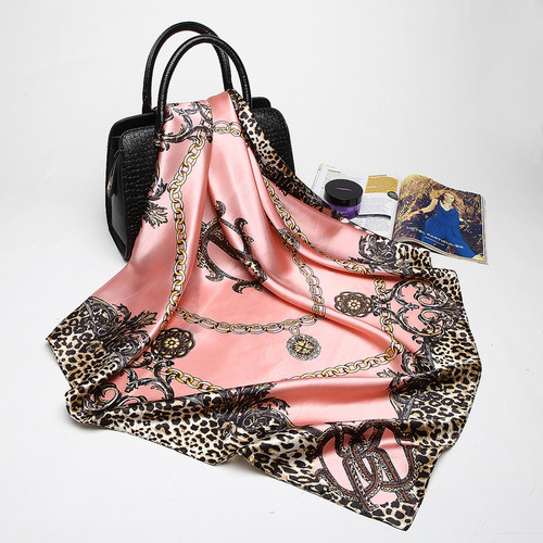 Fashion Women Scarf Luxury Brand Pink Leopard Hijab Silk Satin Shawl Scarfs Foulard Square Head Scarves Wraps 2018 NEW 90x90cm
