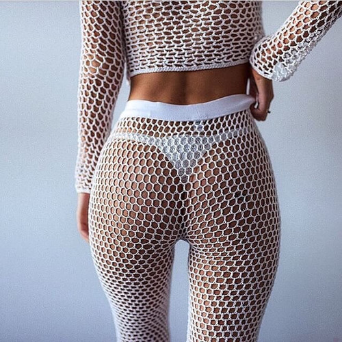 bd9b5f90a1408 Crochet Mesh Beach Pants For Women 2018 Summer New Elastic Bikini Cover Up  Pants High Waist Long Flare ...