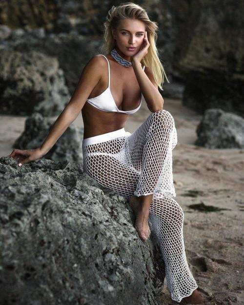e2a0668a02 Crochet Mesh Beach Pants For Women 2018 Summer New Elastic Bikini Cover Up  Pants High Waist Long Flare ...