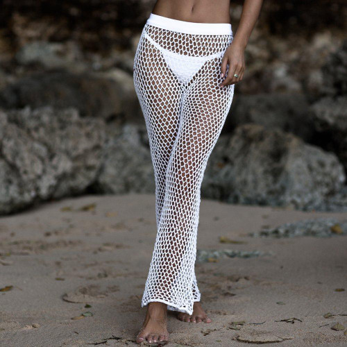Crochet Mesh Beach Pants For Women 2018 Summer New Elastic Bikini Cover Up Pants High Waist Long Flare Trousers Swimming Bottoms