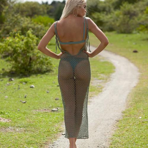 d7d4cbcaa0ef6 Crochet Long dress vestido ganchillo Women beach bikini cover ups Sexy Mesh Swimsuit  Bathing Suit Pareo ...