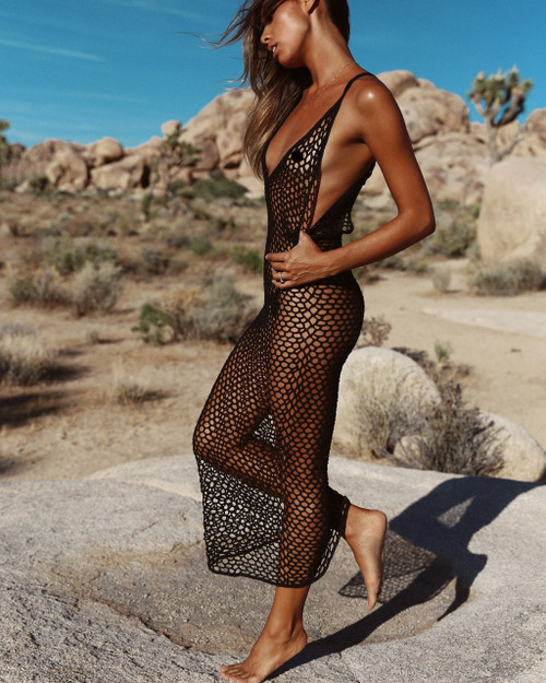 Crochet Long dress vestido ganchillo Women beach bikini cover ups Sexy Mesh Swimsuit Bathing Suit Pareo Swimwear Tunic Robe