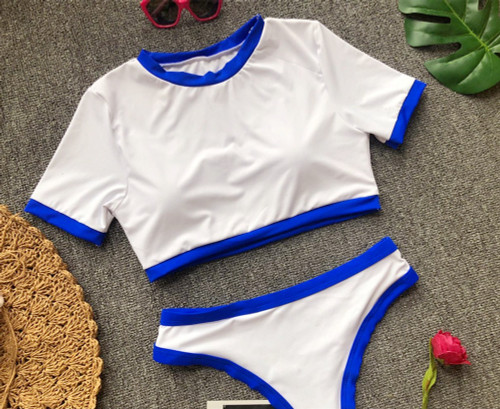TOMBOY COLOUR CONTRAST T-SHIRT BIKINI CROP TOP HIGH WAISTED THONG BOTTOMS IN WHITE & BLUE