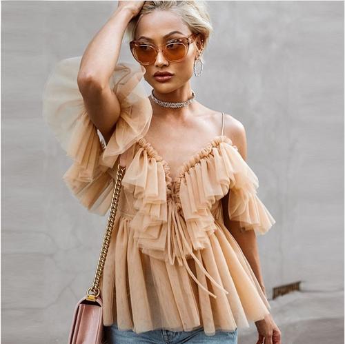 Backless v neck sexy blouse summer 2018 Strap ruffle mesh blouse shirt women Off shoulder peplum tops blusas shirt femme