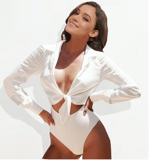 Sexy Bodysuit Suit Long Sleeve Jumpsuit Bow Tie Lurex Satin Silk Bodysuit Women Romper Playsuit White Body Silky Blouse