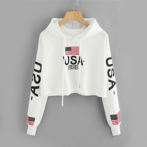 Drop Shoulder American Flag Print Letter Multicolor Hoodie Spring Autumn Ladies Hooded Long Sleeve Drawstring Crop Hood