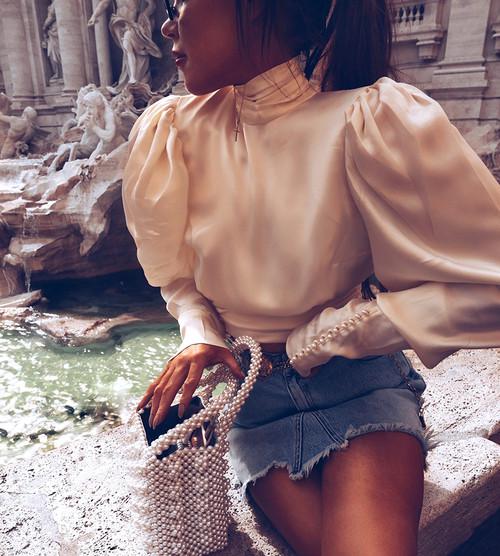 Turtleneck Silk Crop Top Blouse Women Puff Long Sleeve Satin Shirt Female Backless Bow Tie Back Sexy Top Summer Autumn 2018