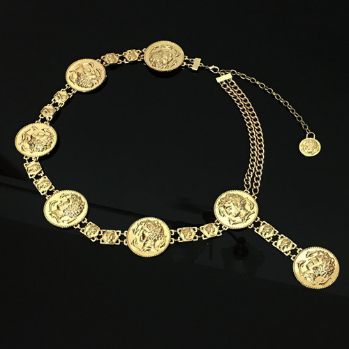 New fashion luxury designer brand chain belt for women Golden coin dolphins portrait metal waist belts Apparel accessories