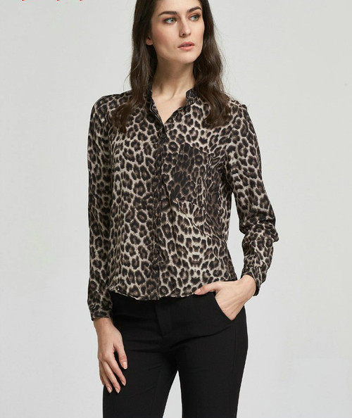 Fashion Women Elegant Sexy Leopard Print Chiffon Blouses Vintage Collar Long Sleeve Shirts Casual Tops Female Clothing