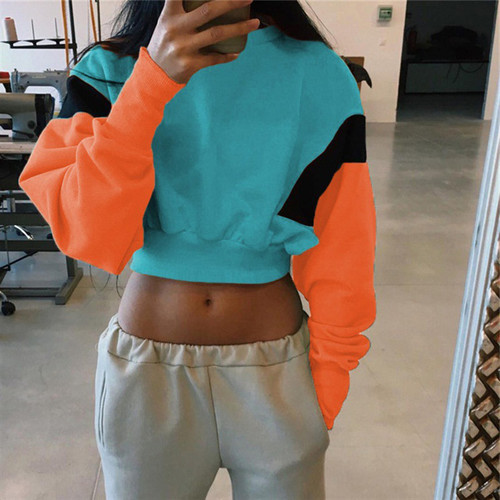 women cropped hoodie sweatshirt patchwork pullovers oversized hoodies female sweatshirt Casual 2018 crop top