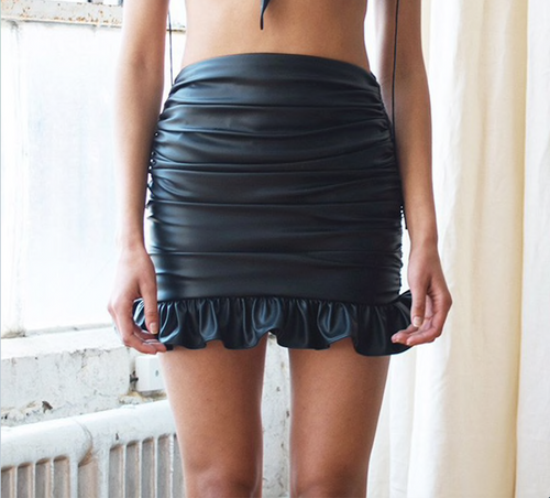 High waist PU leather ruffles mini skirts 2018 summer women sexy fashion skirt