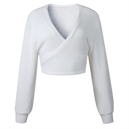 2ae912b79e Autumn Winter New 2018 Short Sweater Women Tops And Pullovers White Knitted Long  Sleeve V Neck Wrap Sweaters