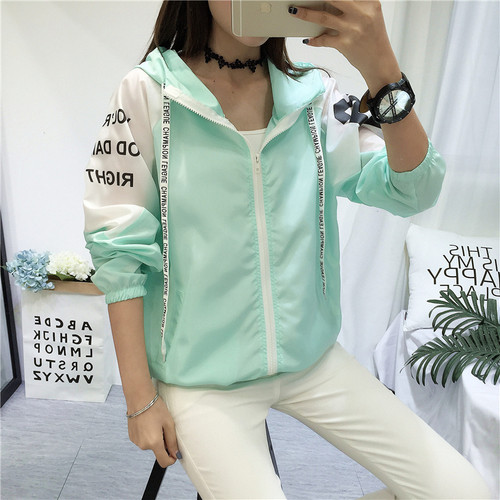 Jacket Women New Summer Spring Women's Hooded Female Jacket Fashion Thin Windbreaker Outerwear Womens Rash Guards