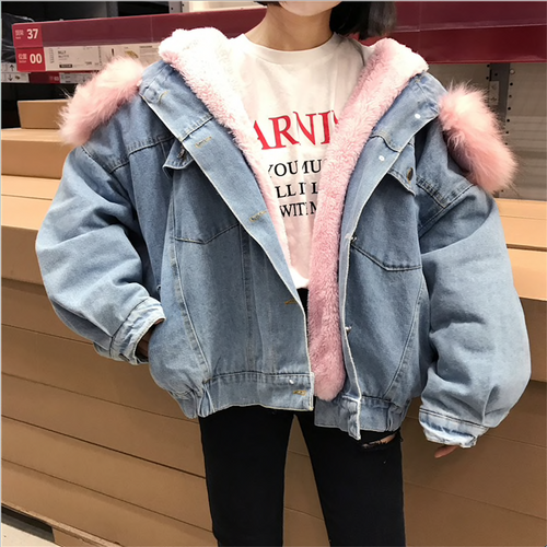 Autumn Winter Fur Hooded Denim Jacket For Women Thick Lamb Fur Winter Female Parka Winter Jean Jacket Coat chaquetas mujer