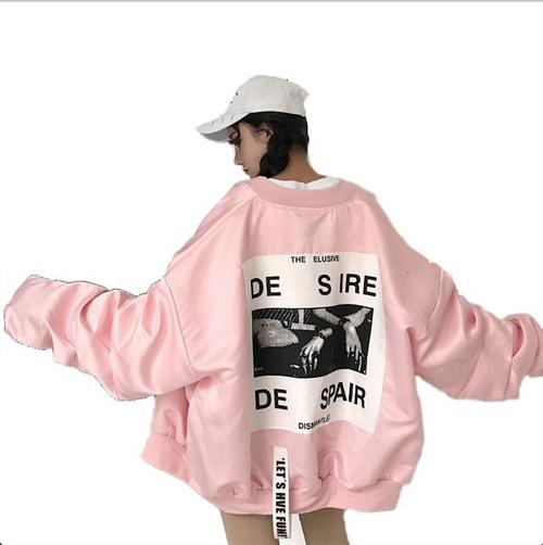 Spring Loose large size female windbreaker befree Jacket Harajuku Bomber Jacket Student BF Coat Oversize Jacket Basic Coats