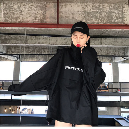 Casual Hip hop Loose pullover jacket Unisex Oversized Coats Spring Autumn Half Zip Windbreaker Jacket Coat Fashion Streetwear