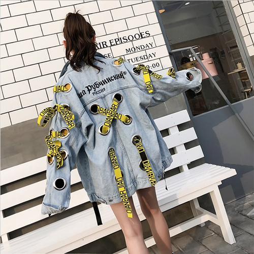 Autumn Eyelet Holes Vintage Harajuku Coat Embroidery Ribbons Denim Jacket For Women Female loose Streetwear Basic Coats