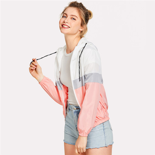 windbreaker Color Block Elastic Waist Drawstring Jacket 2018 New Fashion Multicolor Zipper Woman Clothing Ladies Spring Jacket
