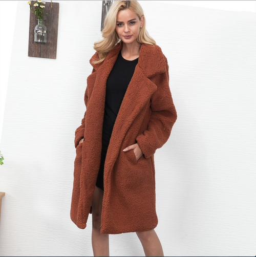 NEW Women Fur Coat teddy coat 2018 Winter Fluffy Shaggy Faux Long Fur Coat Fashion Thick Warm Jacket Black/Beige Outwear Pele {Dark Camel}