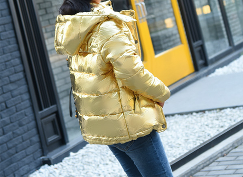 Gold Bright Jacket Coat Women Winter Warm Down Cotton Padded Short Parkas Bread Style new Autumn Fashion Bomber Hooded Outwear