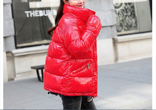 2018 New Winter Glossy Down Parka For Women Warm Bright Kindy Color Jacket Female Slim Zipper Jacket women windbreaker Coat {Red}