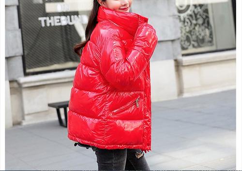 2018 New Winter Glossy Down Parka For Women Warm Bright Kindy Color Jacket Female Slim Zipper Jacket women windbreaker Coat {Red}