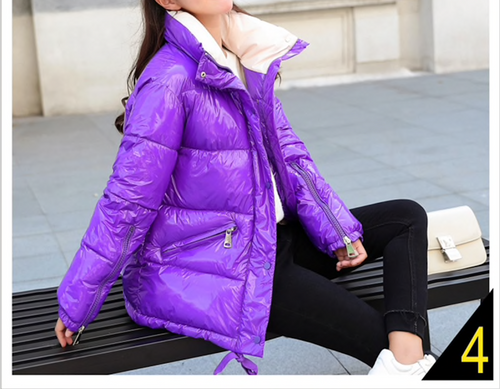 2018 New Winter Glossy Down Parka For Women Warm Bright Kindy Color Jacket Female Slim Zipper Jacket women windbreaker Coat {Purple}