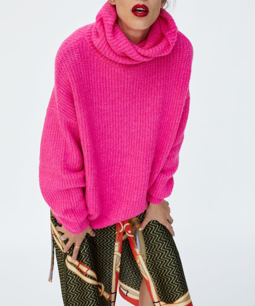 2018 Fashion Fluorescent Neon Color Turtleneck Warm Sweater Women Casual Long Sleeve Loose Woman Pullover Knit Oversized Jumper