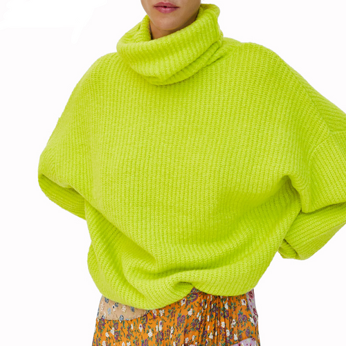 2018 Fashion Fluorescent Neon Color Turtleneck Warm Sweater Women Casual Long Sleeve Loose Woman Pullover Knit Oversized Jumper {Green}