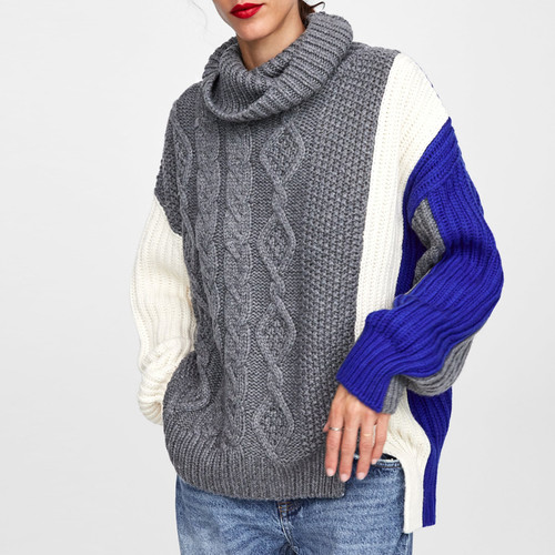 2018 Autumn Winter Knitted Turtleneck Long Sleeve Sweater Women Hit Color Soft Warm Pullover Loose Female Jumper Color Block Cable Knit {Blue}