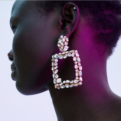 ZA Big Rectangle Crystal Drop Earrings Women Trendy 2018 Geometric Hanging Earrings Engagement Jewelry Christmas