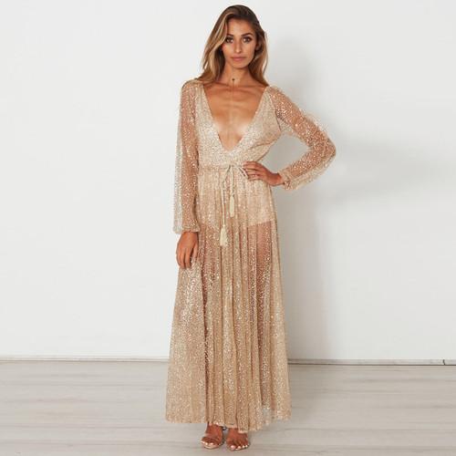 0beee5ed98 Boho Sexy Long Maxi Glitter Dress