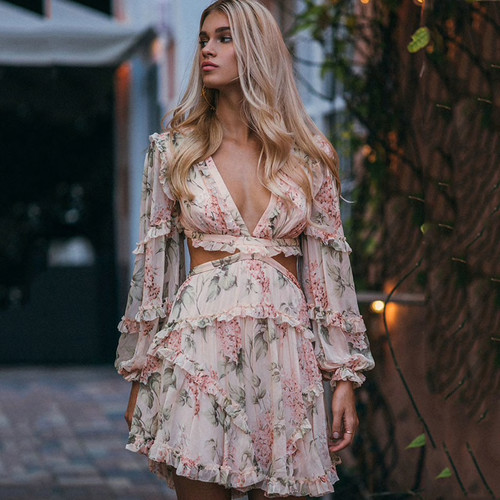 Sexy Crisscross Back Women Dress Flower Print Vocation and Beach Dress Deep V Luxury Brand Sleeve Long Mini-dress