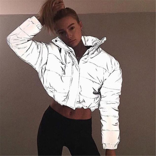 Reflective Glow Jacket winter women fashion Reflector Cotton-padded jacket high waist zipper fly pockets female casual thick warm clothing