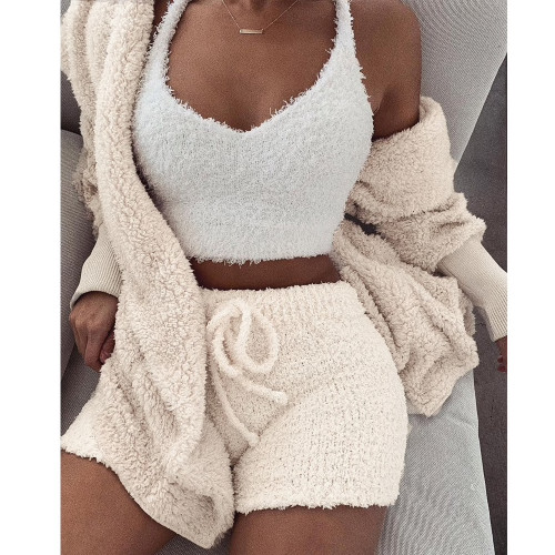 Autumn Winter Suit Long Sleeve Loose Coat +Shorts Suit Woman Oversize Cardigan+Drawstring Shorts 2 Piece Set