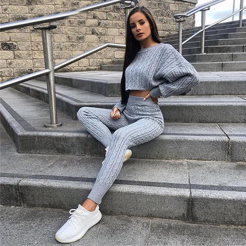 33e47e1b841a8 Women Two Piece Set Sweater And Trousers Tracksuits Autumn And Winter Knit  2 Pieces Knitted Suit Clothes Tracksuit