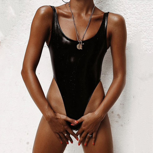 2019 New Sexy PU Leather Swimsuit One Piece Swimwear Women Solid Black Thong Bathing Suit Monokini Swim Suit Swim Wear for Women