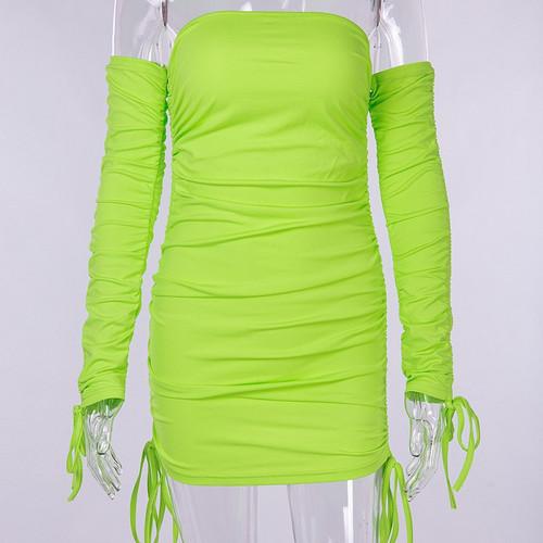 Off Shoulder Neon Sexy Dress Club Mini Womens Bodycon Dress Long Sleeve Slash Neck Drawstring Ruched Autumn Party Dresses