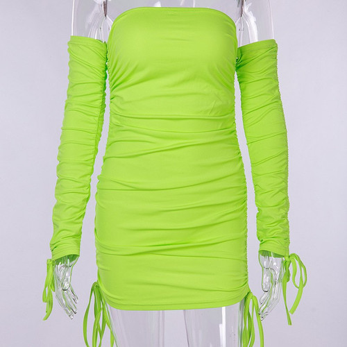 Off Shoulder Neon Sexy Dress Club Mini Womens Bodycon Dress Long Sleeve Slash Neck Drawstring Ruched Autumn Party Dresses