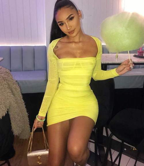 4344938aafbc Bodycon Mesh Dress Sexy Long Sleeve Transparent Club Party Night Dress  Women Yellow Elegant Celebrity Short Dresses