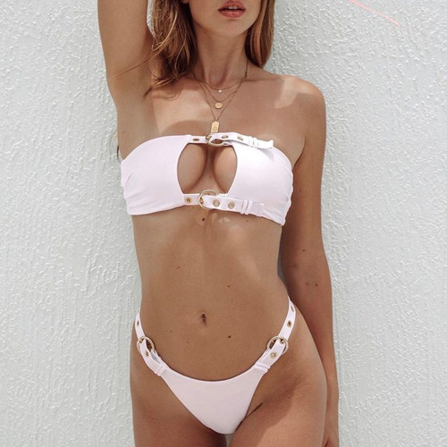 Buckle bandeau bikinis 2019 mujer Push up two-piece suit Sexy swimsuit female High cut pink swimwear women Thong bathing suit
