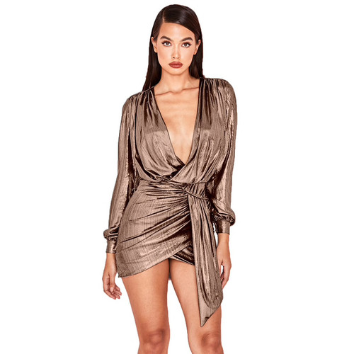 Pleated Club Dress For Women Sexy Deep V Neck Shiny Metal Color New Long Sleeve XXL Party Dress Fashion Outfits Vestido