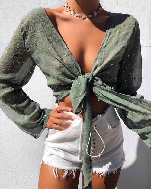 Summer Beach Cover Up Tops Tee Sexy Boho Chic Crop Short Top See Through Outfits Stars Embellish Fashion Chiffon Tops