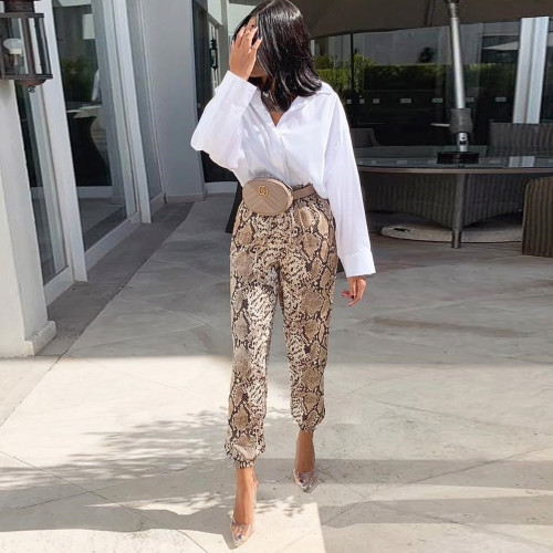 Women Animal Pattern Trouser Casual Snake Skin Printed Harem Pants Elastic pleated female casual ankle length trousers