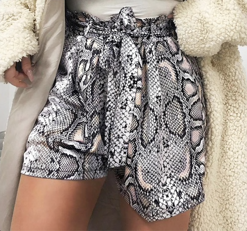 Sexy snake print high waist shorts women Sash elastic summer shorts female Casual animal pattern vintage fashion bottoms
