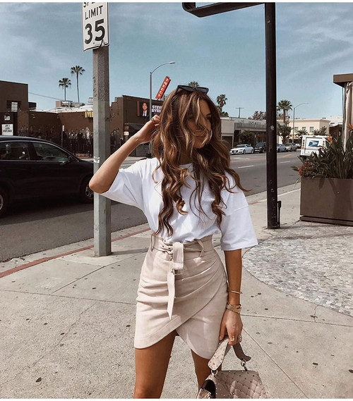 High waist belt suede leather skirt female Autumn winter irregular bodycon mini skirt Sexy streetwear women skirt bottom