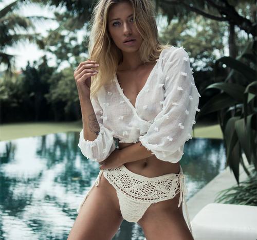 2019 New Sexy Chiffon Beach Cover Up Long Sleeve V Neck Bikini Cover Up White Shirt Women Summer Beach Wear Swimsuit Cover-Ups