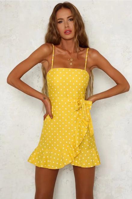 Vintage polka dots print boho yellow red ruffle dress elegant women kawaii bow tie casual beach party mini dress vestidos Summer