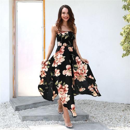 summer women bohemian asymmetrical floral printed a line dress casual spaghetti strapless dress sexy long dress